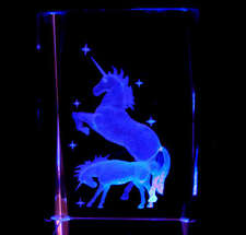 """3"""" 3D Laser Etched Crystal UNICORN MOON STAR Free Light Base Christmas Gift"""