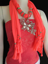 NEW WOMEN SOFT FABRIC ORANGE FASHION SCARF LONG NECKLACE HUGE BUTTERFLY PENDANT
