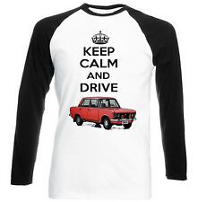 POLISH FIAT 125P RED KEEP CALM AND DRIVE - COTTON TSHIRT - ALL SIZES IN STOCK