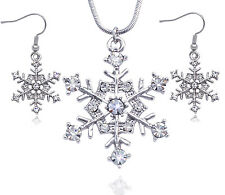 Snowflake Wedding Bridesmaid Pendant Necklace Earrings Anniversary Jewelry Set