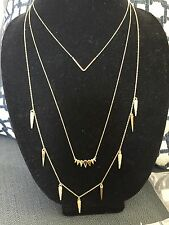 BaubleBar Cone Layered Strands Gold Tone Triple Chains Necklace NWOT $60