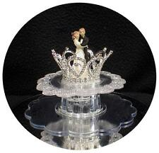 Princess Crown Wedding Cake Topper Fairytale  rhinestone crystal bride groom