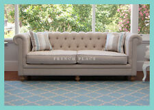 *IN STOCK!* NEW Beige Linen French Buttoned Linen Chesterfield Sofa