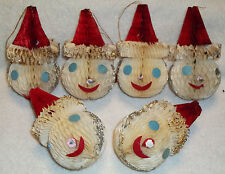 6 VINTAGE Paper HoneyComb Christmas Ornaments Snowmen Heads JAPAN Flame Proof
