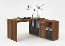 Corner Study Desk L-Shaped with Storage Shelf 2 Drawers PC Table Workstation NEW