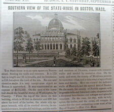 1844 newspaper w illustration  BOSTON COMMON Massachusetts State House BEACON ST