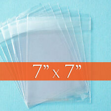 "100 Square, Clear Cello Bags, 7x7 inch Resealable 1.6 mil OPP Poly - 7"" x 7"""