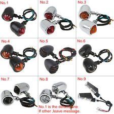 Universal Motorcycle Smoked Black Chrome Turn Signal Light Indicators Bullet