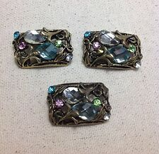 3 - 2 Hole Antique Gold Metal Rhinestone Slider Connector Beads USA