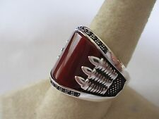 Gorgeous Bear Claw style sterling silver Carnelian men's ring 925 new style 11.5