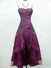 Cherlone Satin Purple Lace Long Prom Ball Gown Wedding/Evening Dress Size 12-14