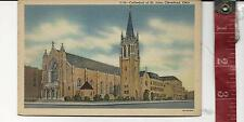vintage Linen Post Card Cathederal of St. John CLeveland Ohio FREE SHIPPING