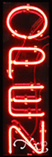 """BRAND NEW """"OPEN"""" 24x8x3 VERTICAL REAL NEON SIGN 12270"""