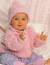 "Popcorn Stitch Baby  Jacket & Hat  18"" - 22"" Knitting Pattern Chunky Wool"