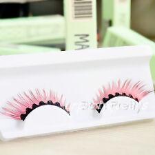 Beauty Fashion Pink Black False Fake Eyelashes Eye Lashes for Party Stage Makeup