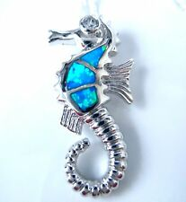 "STUNNING BLUE FIRE OPAL SEAHORSE PENDANT + 18"" SILVER CHAIN."