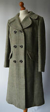 Ladies La Petite Vintage Green Check  Double Breasted Wool Mix Coat Size 14 / 16