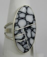 Navajo Indian Ring White Buffalo Turquoise Inlay Oval Size 8 Sterling Silver