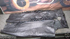 "CHAPS Black Women's Leather Fringes Zippered 35"" +  SHAF Motorcycle Fits XXL  Q2"