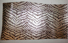 "Metallic Gold & Brown Tiger Print Cowhide Leather Scraps 8""x16"" avg .8mm #5606"