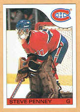 1985-86 OPC Grey-Back Test, Canadiens' Steve Penny, Mint, Plus Regular Issue