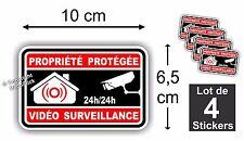 Lot de 4 Stickers Adhésif - Alarme - Protection - Maison - Vidéo Surveillance