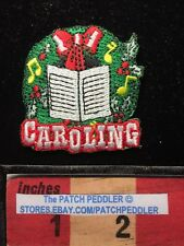 Christmas Caroling Wreath Patch ~ Music Note Red Bow Carol Songs. 62T2