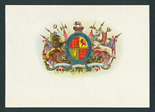 Royal Coat of Arms United Kingdom on Original Antique Cigar Box Label Art