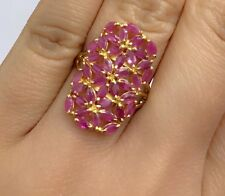 14k Solid Yellow Gold Cluster Rectangle Ring Natural Ruby 4TCW, Sz8.75