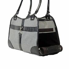 NEW Houndstooth Print Pet Dog Cat Animal Soft Tote Bag Carrier Black - 261