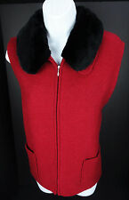 Large Appleseed's Red Boiled Wool Vest Full Zip Removable Faux Fur Collar L