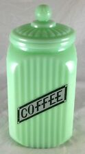 JADITE GREEN GLASS RIBBED DESIGN WITH LABEL ON FRONT JADEITE COFFEE CANISTER JAR