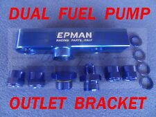 Dual Twin Billet Fuel Pump OUTLET Assembly Manifold for Bosch 044, 070 068 Blue