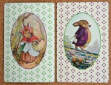 ANIMAL - BEATRIX POTTER TYPE- MR & MRS BUNNY -RABBITS- PAIR SWAP PLAYING CARDS