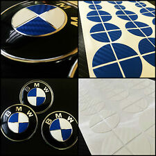 White & Blue CARBON Overlay Roundel Sticker - BMW BADGE EMBLEMS Rims Hood Trunk