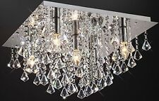 Jewel Chandelier Flush Ceiling Light Fitting Cascading Genuine Crystals Droplets