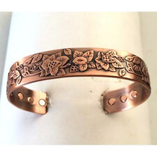 MAGNETIC COPPER CUFF WITH FLOWERS / BLOSSUMS  100% COPPER  CN50