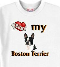 Big Dog T Shirt - Love My Boston Terrier 5 Colors # 157 Men Women Adopt Rescue