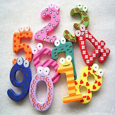 Large Set of 10 Number Cartoon Education Toys Wooden Fridge Magnet for Baby Cool