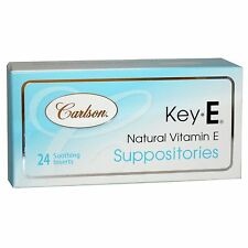CARLSON LABS KEY-E SUPPOSITORIES - NATURAL VITAMIN E - 24 SOOTHING INSERTS