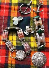 19thc Scottish Agate sterling silver SIX piece Lot. Bracelets & brooches