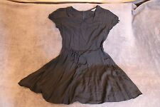 Ladies Navy Silky Fabric New Look Size 14 Tea Dress Vintage Peter Pan Collar