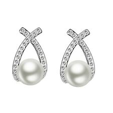 Cross Knot Pearl and Crystal Stud Earrings in Gift Box