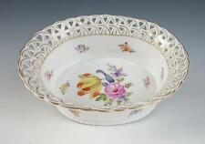 NYMPHENBURG Reticulated BASKET BOWL w/Scattered Flowers German Porcelain Antique