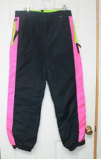 Vintage Columbia Black Pink Neon Womens Medium Snow Pants ski skiing shell EUC