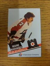 1982/1983 Fixture Card: Ice Hockey - Maine Mariners (fold out style). Any faults