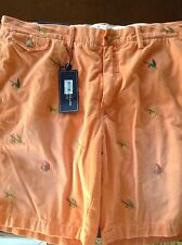;NEW RALPH LAUREN POLO SHORTS FLAT CHINO ORANGE WITH FISHING FLYS ALL OVER 36