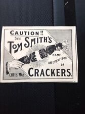 ephemera 1901 Advert Tom Smith Crackers Caution Christmas