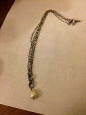 SILPADA N1353 NEW! Double Chain Oval Link Strand Sterling Silver Pearl Necklace