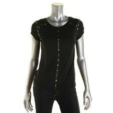 Generation Love 2333 Womens Black Studded Cap Sleeves Pullover Top Shirt S BHFO